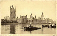 London Großbritannien Ansichtskarte 1930 House of Parliament Themse Boot Schiff