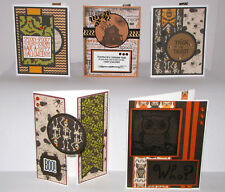 "Halloween Greeting Cards Handmade - Set #2 - 5 A2 Size (5.5""X4.25"") & Envelopes"