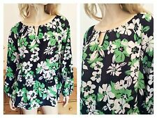 Simply Be Size 20 Black Green Floral Daisy Print Blouse TOP Summer Holiday New
