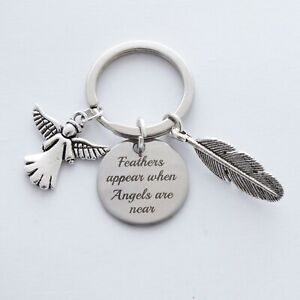 """""""Feathers appear when angels are near"""" Memorial Keepsake - Bag Charm Keyring"""