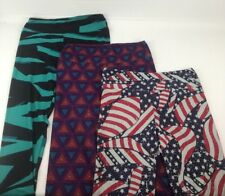 Lularoe Size 12-18 Large Lot Of 3 Tall & Curvy Tights Geometric America II3
