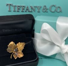 Tiffany&Co 18k Sapphire Leaf Brooch - Deep Rose Gold with Box