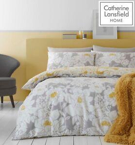 Catherine Lansfield Saskia Floral Easy Care Quilt/Duvet Cover Bedding Set Ochre
