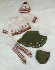 Gymboree Christmas Gingerbread Baby Girl Skirt Set w/ Sweater Tights - 6-12mos