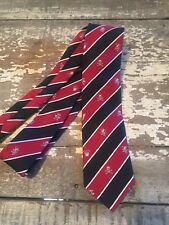 BOYS  Christmas Holiday Tie Skulls 7 8 10 12 EUC RED BLACK WHITE STRIPE XMAS M S