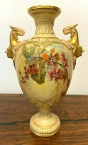 Royal Worcester Hand Painted Two Handled Vase Model 1618  18cm