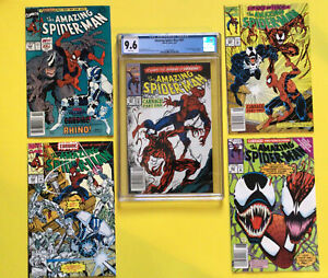 Amazing Spider-Man #361 Newsstand CGC 9.6 and 344,360,362,363 CARNAGE Book lot🔥