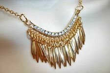 Gold Spike Diamante Drop Statement Necklace Jewellery Crystal Bling Lady B2G