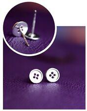 925 Sterling Silver Button Stud Earrings. Sewing Button Earrings