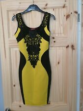 Black And Yellow Lace Size 8 Bodycon Dress