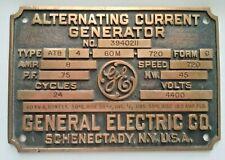 Vintage Brass /Bronze General Electric Alternating Current Generator Data Plate