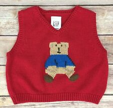 Baby Gap Red Sweater Vest with Gap Bear on the Front  Newborn 12-17 lbs