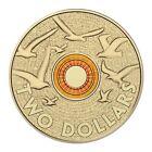 Australian Two Dollar $2 coin - 2015 - ANZAC ORANGE Remembrance Doves