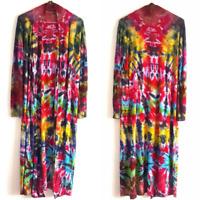 Kimono Tie Dye Maxi Cardigan Festival Jacket Grunge Plus Size Long Hippie Boho