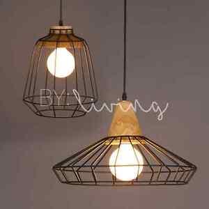 Modern minimal Wood Timber Metal cage hanging ceiling pendant light the block