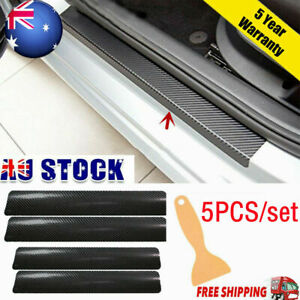 3D Black Carbon Fiber Vinyl Film Wrap Car Door Plate Sill Scuff Cover Sticker AU