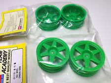 1 Satz Felgen 1/10 12mm Sechskant Academy NSX  6- Speichen Neon grün Drift neu