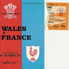 Gales / Francia 1974 Rugby Programa & Ticket 16 feb, Cardiff