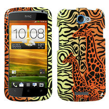 For T-Mobile HTC ONE S HARD Protector Case Snap Phone Cover Orange Giraffe Pair