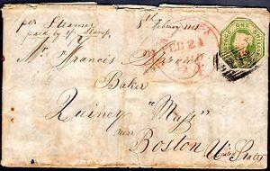 "UK-US 1851 ""PAISLEY"" SCOTLAND TO BOSTON FRANKED 1 SHILLING GREEN S.G. 54 ON"