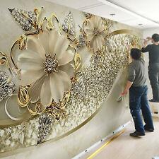 3D Sitting room bedroom TV background Embossed flowers jewelry wallpaper 828