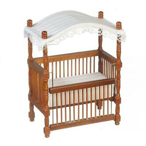 Dolls House Walnut Wood Canopy Cot Crib Miniature 1:12 Nursery Baby Furniture