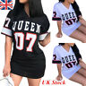 Women V neck Holiday Long Tops T-shirt Queen Prnt Casual Party Mini Dress #mla