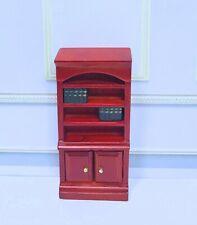 Dollhouse Miniature Filled Wooden Book Shelf  - 1/2 Scale