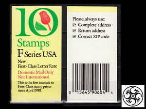 US 1991 Sc#BK182: 'F' RATE (29c) TULIP, BOOKLET OF 10, MNH - FREE SHIPPING