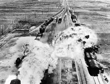 Photo. 1950. Wonsan, North Korea.  US Military Bombing Railroad Cars & Tracks