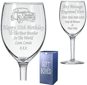 Engraved Wine Glass - Boxed 40th - 50th - 60th - 65th Birthday Gift - Present