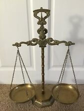 Vintage Brass Tall Counter Balance Scales  Ornate Design, See Photo,nice Detail