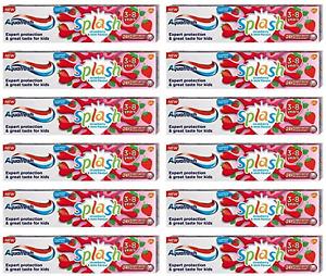 Aquafresh Kids Toothpaste Splash Strawberry & Mint Flavour 3-8 Years 12x50 ml