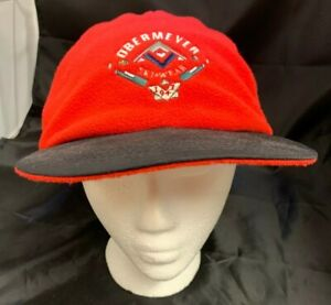 VINTAGE OBERMEYER Baseball Cap with Ear Flaps Red and Black Mens L/XL