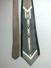 Men's Vintage Pierre Cardin MCM Silk Tie Swing MOB Black Silver Tan JAZZ