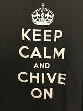 "Vintage Authentic Chive Tees ""Keep Calm and Chive On"" Black T-Shirt Size XL"