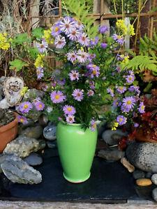 ART DECO VINTAGE RUSTIC FARMHOUSE STONEWARE LARGE GREEN FLOWER VASE
