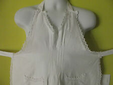 CHOICE OF 1 FRENCH VINTAGE COTTON HANDMAKE LACE APRON PINNY MAID MONOGRAM C D F