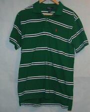Ralph Lauren Boys XL 20 Striped Cotton Polo Shirt Forest Green White Striped