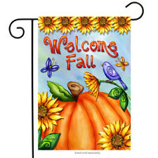 "Welcome Fall Pumpkin Garden Flag Sunflowers Birds Autumn 12.5"" x 18"""