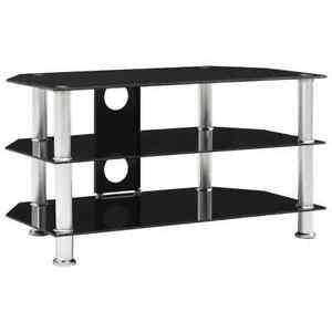 vidaXL Mueble para Televisor de Vidrio Templado Negro Mesa Soporte Estante