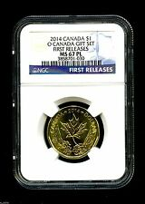 2014 O CANADA $1 NGC MS67 PL MAPLE LEAF LOON LOONIE FIRST RELEASES DOLLAR TOP
