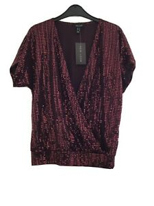 Burgundy New Look Sparkly Top Size 12