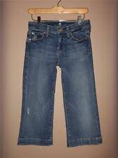 W7455 Women 7 SEVEN FOR ALL MANKIND Blue Stretch Denim CROPPED JEANS Capris 25/0