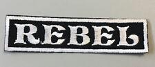 "Custom  Biker Vest Patch ""REBEL""  4""X 1"" SEW / IRON ON. (WHITE ON BLACK)"