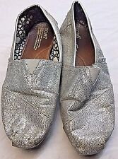 Toms Tom's Metallic Silver Canvas Classic Ballet Flats Women's Size 9