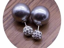 Fashion Jewely Silver Double Sided Faux Pearl Front Back Ear Jackets Earrings