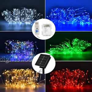 LED Solar Battery USB String Lights Copper Wire Fairy Outdoor Garden Party Xmas