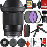 Sigma 16mm f/1.4 DC DN Contemporary Lens for Sony E-Mount + 64GB 18PC Bundle