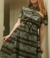 Vintage 1950's - 60's Mid Century Abstract Geometric Midi Dress by Shelton...